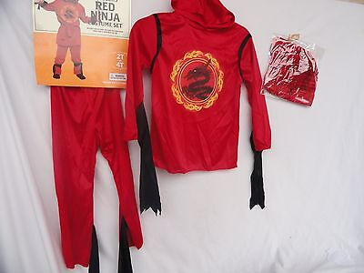Toddler's RED NINJA costume Set Size 2T-4T