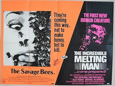 Savage Bees/Incredible Melting Man, original double bill UK Quad Poster, 1977