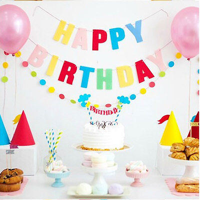 Happy Birthday Cake Shower Bunting Banner Topper Decoration Party Children Cute