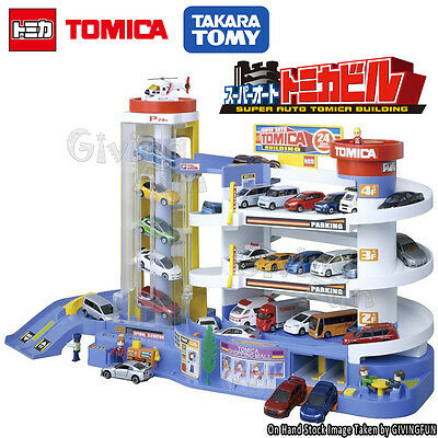 GENUINE TAKARA TOMY TOMICA Super Auto Car Park Parking Building Figure Box Set