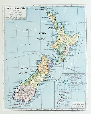 OLD ANTIQUE MAP NEW ZEALAND NORTH & SOUTH ISLANDS c1920's BY GEOGRAPHIA LTD