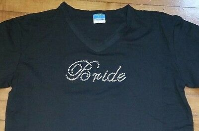 Bride Bling Rhinestone V Neck T-Shirt Black - White