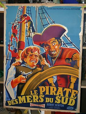 Ancienne AFFICHE CINEMA 1954 Pirate des mers du sud - Long John Silver