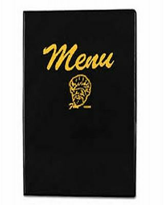 "Menu Cover, 8-1/4"" x 12"", sealed edges, inside pockets/clear, black vinyl!"