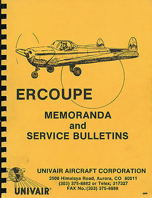 ERCOUPE - MEMORANDA AND SERVICE BULLETINS -Univair Aircraft Corporation
