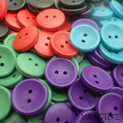 20Mm Wood Buttons Black Red Green Purple Turquoise Retro Baby Child Wooden 3/75