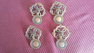 4 Vintage Brass Drawer Pull Dangles