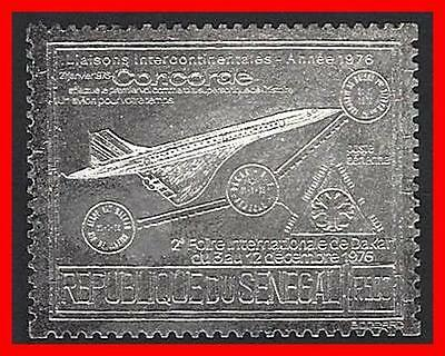SENEGAL 1976 CONCORDE PLANE on SILVER FOIL SC#C143A MNH AVIATION TRANSPORT