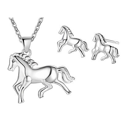 New Women Girl 925 STERLING SILVER jewelry sets Animal necklace earrings