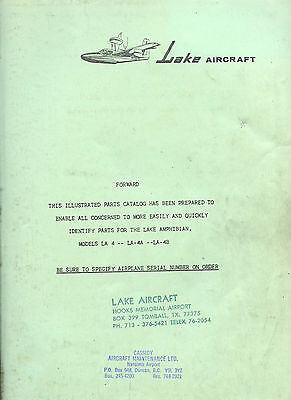 Illustrated Parts Catalog For Lake Amphibian Models La-4, La-4A