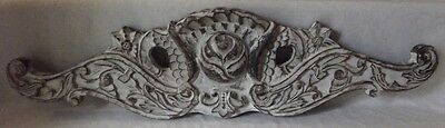 Large Old Vintage Solid Wood White Washed Topper Pediment 29-1/2""
