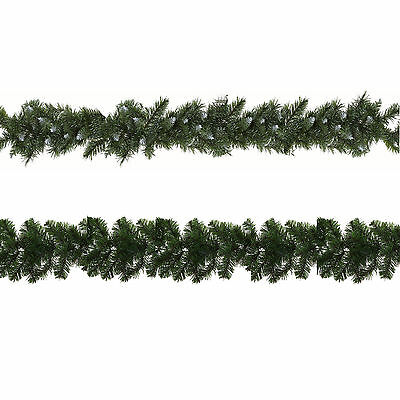 Christmas Decoration Artificial 9ft Garlands 180 Tips - Snowy or Plain