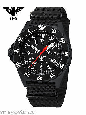 KHS Tactical Watches Black Shooter Trigalights Date Army Strap Black KHS.SH.NB