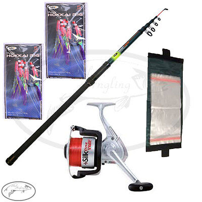 Sea Fishing Telescopic Beachcaster Rod 12Ft & Sea Reel & Feathers Rig Wallet Ngt