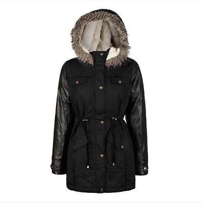 Girls Kids Boohoo Black Parka Jacket Coat Leather Winter Fishtail Fur School
