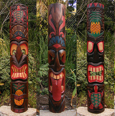 """Tribal Tiki Mask Package Deal Set of 3- Patio Tropical Bar 40"""""""