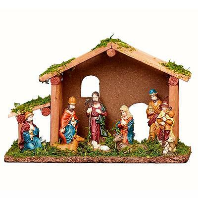 9 Figure & Stable Scene Christmas Nativity Scene N162225