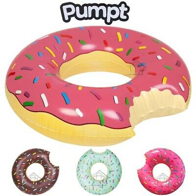 NEW Large Pool Inflatable Swimming Ring Donut - PUMPT Beach Floatie Toy 112cm