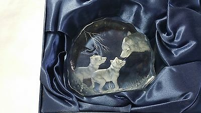 Capredoni Signed Dartington England Crystal Etched Sculpture Wolf with Cubs