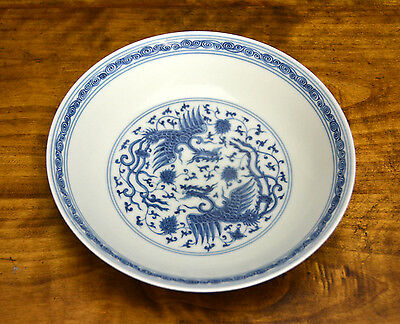 Superb Fine Chinese Ming Chenghua Style Blue and White Phoenix Porcelain Plate