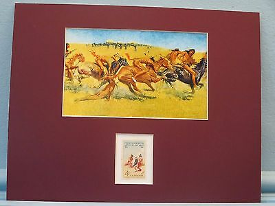 """Plains Warfare"" painted by Frederic Remington honored by his own stamp"