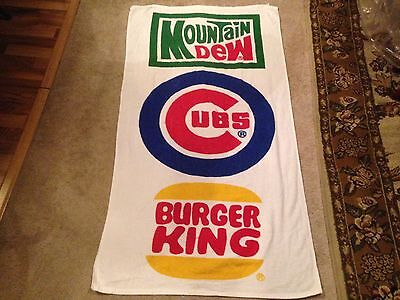 Rare CHICAGO CUBS VINTAGE BEACH TOWEL Mountain Dew/Burger King Promotional