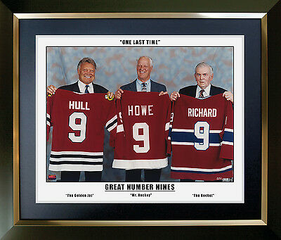 The Three Great Nines - Maurice Richard, Gordie Howe and Bobby Hull - Framed