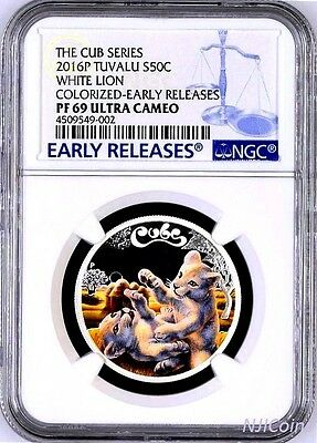 2016 P Tuvalu PROOF Silver The Cubs White Lion NGC PF69 1/2 oz Coin w/ OGP