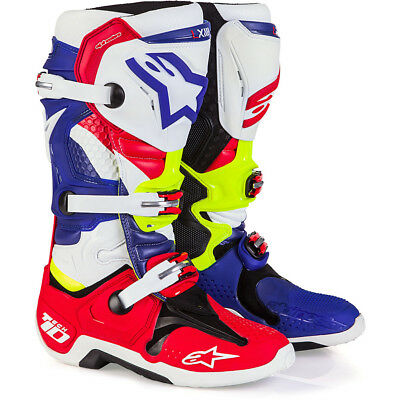 NEW Alpinestars Mx Tech 10 MXoN LE Nations Red Blue Fluro Yellow Motocross Boots