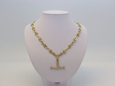 #500523 Ladies 9ct Yellow Gold Fancy Figure 8 Link Fob Necklace - 50cm Length