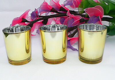 70 Gold Glass Tealight Votive Candle Holder Wedding Table Bling Event Decor