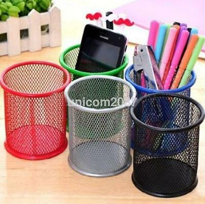 1Pcs Metal Hollow Black Cylinder Pen Pencil Pot Holder Makeup Brush Storage ca