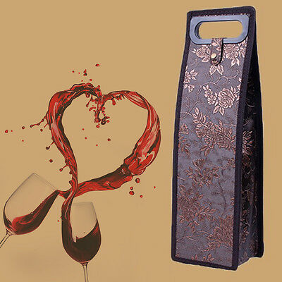 Flower Single Wine Bottle Bag PU Leather Carrier Business Party Gift Pouch