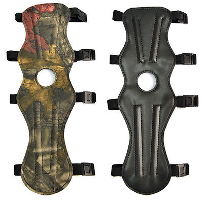 "1X 12"" Archery Bow Arm Guard Shooting Safety Protection 4 Straps Black Camo"