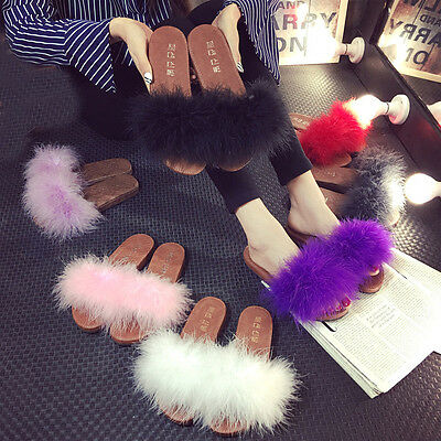Womens New Feather Fluffy Flat Slippers Mules Slip On Creepers Fur Sandals Shoes