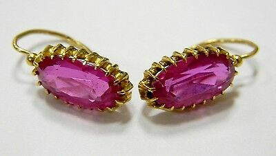 Original Vintage Soviet Solid ROSE Gold earrings 750 18K ruby 6.35g USSR rare