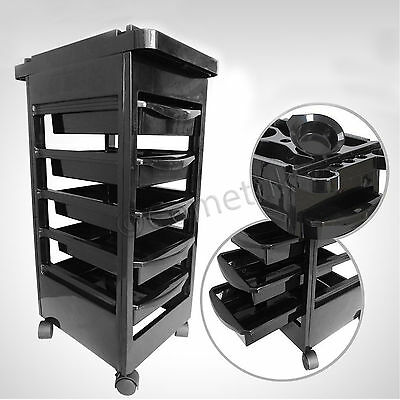 Salon Hairdresser Barber Beauty Storage Trolley 5 Pullout Drawes Rolling Cart UK