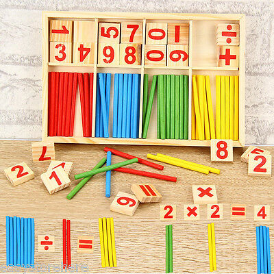 Education Numbers Stick Wooden Mathematics Toy Games For Kids Early Learning