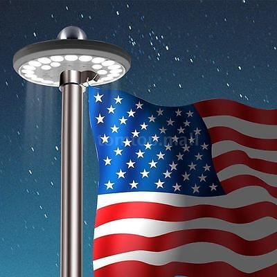 Solar Powered Flag Pole Top Light 26 LED Automatic Waterproof Downlight Y5U6
