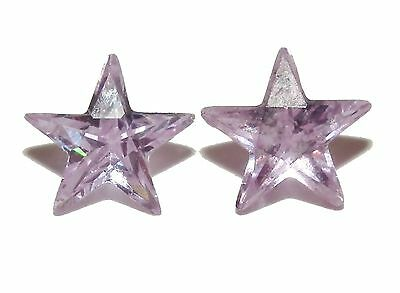 2 x Lilac Star Cut Loose Gem Stones - 8 x 8mm
