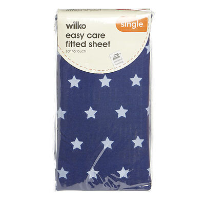 single fitted bed sheet navy blue stars and pillowcase set