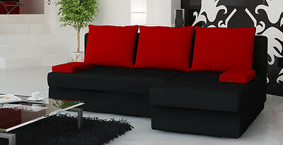 New Quality Small Cheap Corner Sofa Bed with Storage in Red Black Fabric MONICA