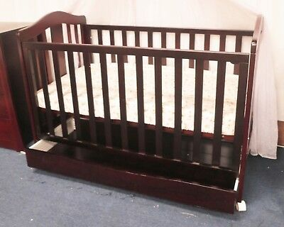 NEW 3 In 1 CLASSIC COT & AU MADE MATTRESS Crib BABY TODDLE BED  WALNUT