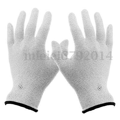 1 Pair Conductive Electrotherapy Stud Tens Machine Electrode Pads Glove Massager