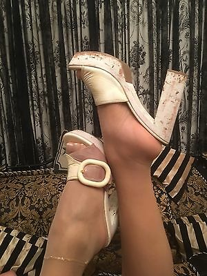 Vintage Prada coffee and cream patent leather mules Size 6