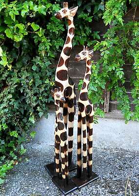 Colourful Carved Wooden Giraffes Large 100 cm Medium 80 cm Small 60 cm Indonesia