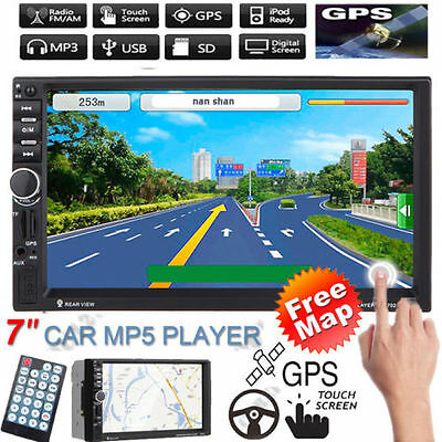 "7"" HD 2 Din GPS Navi Bluetooth Car In-Dash Radio Stereo MP5 Player USB/FM + Map"