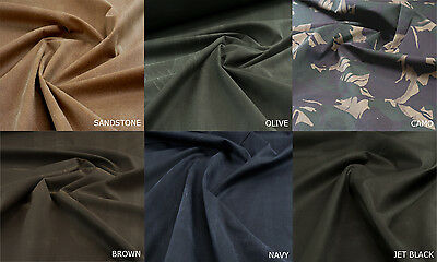 WATERPROOF Marine Canvas Fabric 1-Fold Wax Cotton material -Various col 10M G