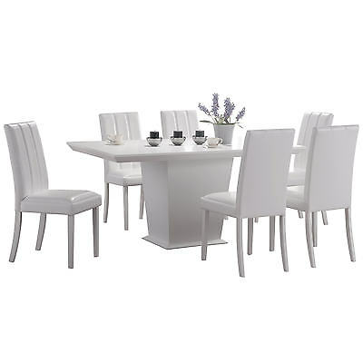 White Finish Dining Table and Chair Set with 6 Leather Seats