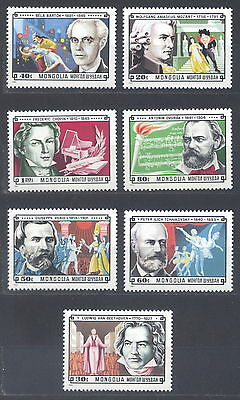 Mongolia 1981. Famous composers. 7 stamps (MI#1429-35). MNH
